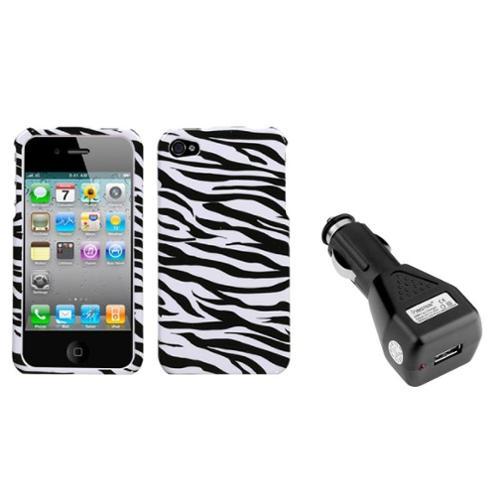 Insten Zebra Skin Case For Apple iPhone 4 4S + USB Car Charger Adapter