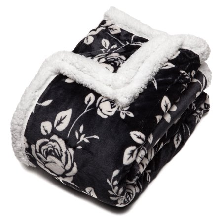 chanasya elegant rose soft fleece reversible sherpa throw blanket