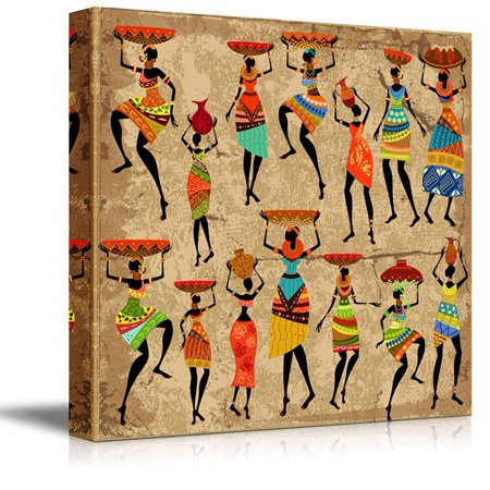 - Wall26 - African Woman on Grunge Background (africa) ( - Canvas Art Wall Decor - 24
