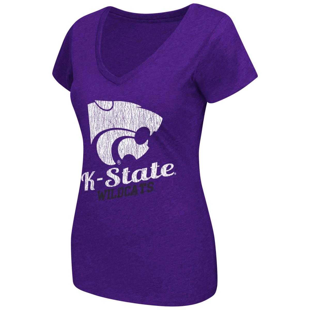 Kansas State Wildcats Women's NCAA Tabloid Dual Blend V-neck T-Shirt