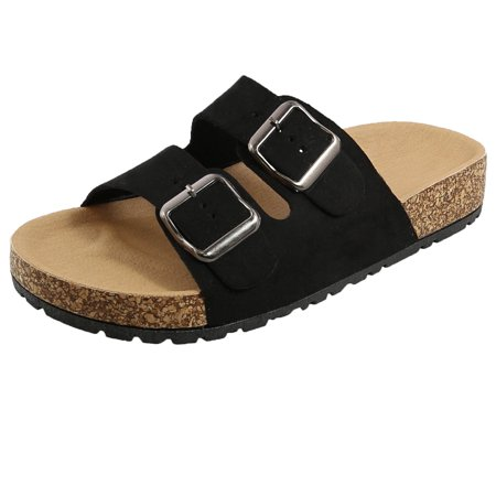 Women's Double Strap Buckle Cork-like Footbed Sole Slide Sandals (FREE SHIPPING) ()