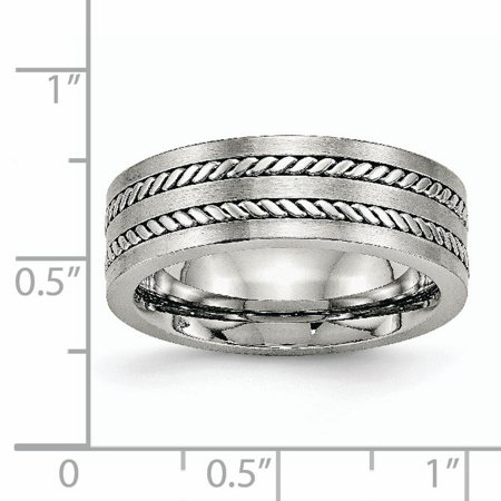 Stainless Steel Brushed and Polished Twisted 7mm Band Ring 11.5 Size - image 5 de 6