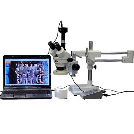 AmScope 3.5X-90X Boom Stand Stereo Microscope with 8-Zone 80-LED Light + 5MP USB Camera