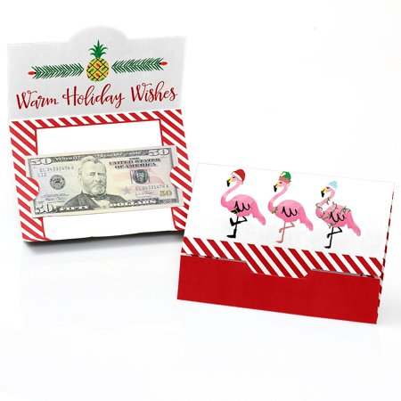 Flamingle Bells - Tropical Christmas Party Money Gift Card Holders - Set of 8