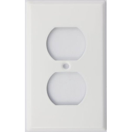 Baldwin Duplex Switchplate - Stamped Steel Smooth White 1 Gang Duplex Outlet Switch Plate