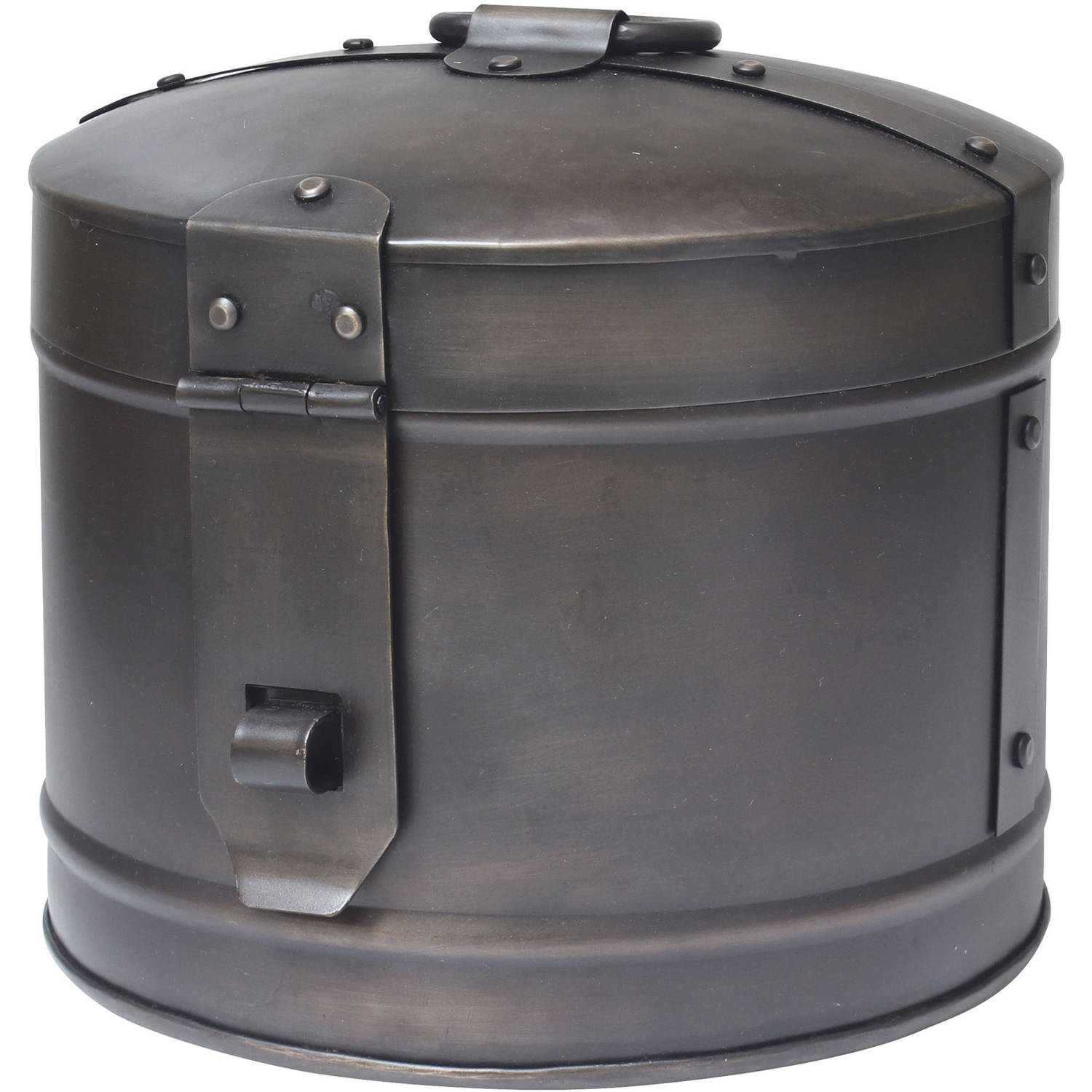 Large Round Metal Storage Box with Industrial Details