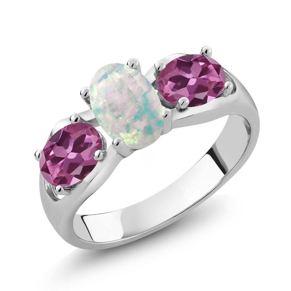 1.63 Ct Oval Cabochon White Simulated Opal Pink Tourmaline 18K White Gold Ring by