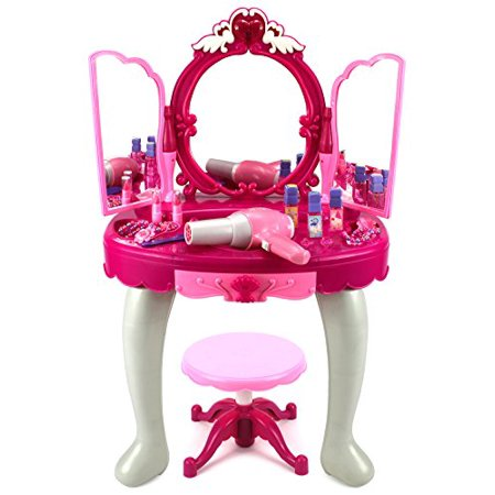 Kids Authority Glamorous Triple Mirror Pretend Play Battery Operated Toy Beauty Mirror Vanity ...