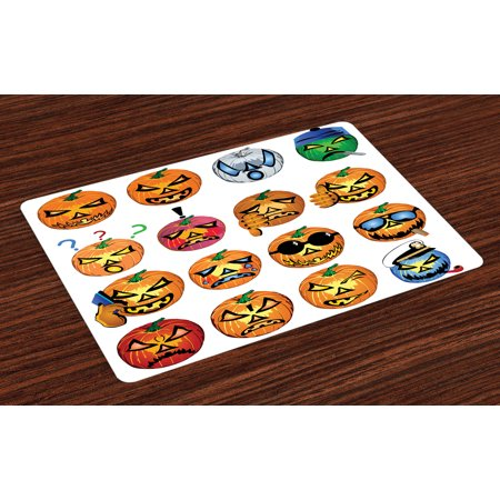 Halloween Placemats Set of 4 Carved Pumpkin with Emoji Faces Halloween Inspired Humor Hipster Monsters Artwork, Washable Fabric Place Mats for Dining Room Kitchen Table Decor,Orange, by - Halloween Pumpkin Carving Set
