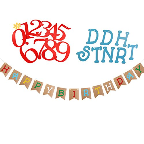 BESTOYARD Happy Birthday Banner Bunting Banner Age Can be Combined Freely Birthday Party Decorations Add-an-Age Number