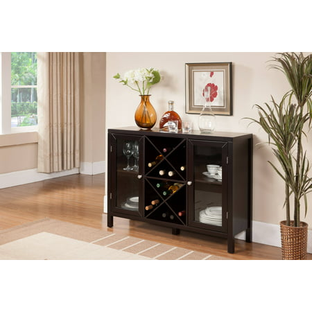Ryker Espresso Wood Contemporary Wine Rack Breakfront Sideboard Display Console Table With Glass Storage