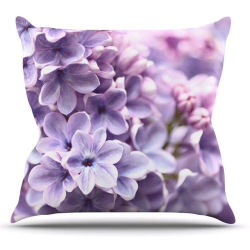 Kess InHouse Sylvia Cook Lilac Purple Flowers Outdoor Throw Pillow