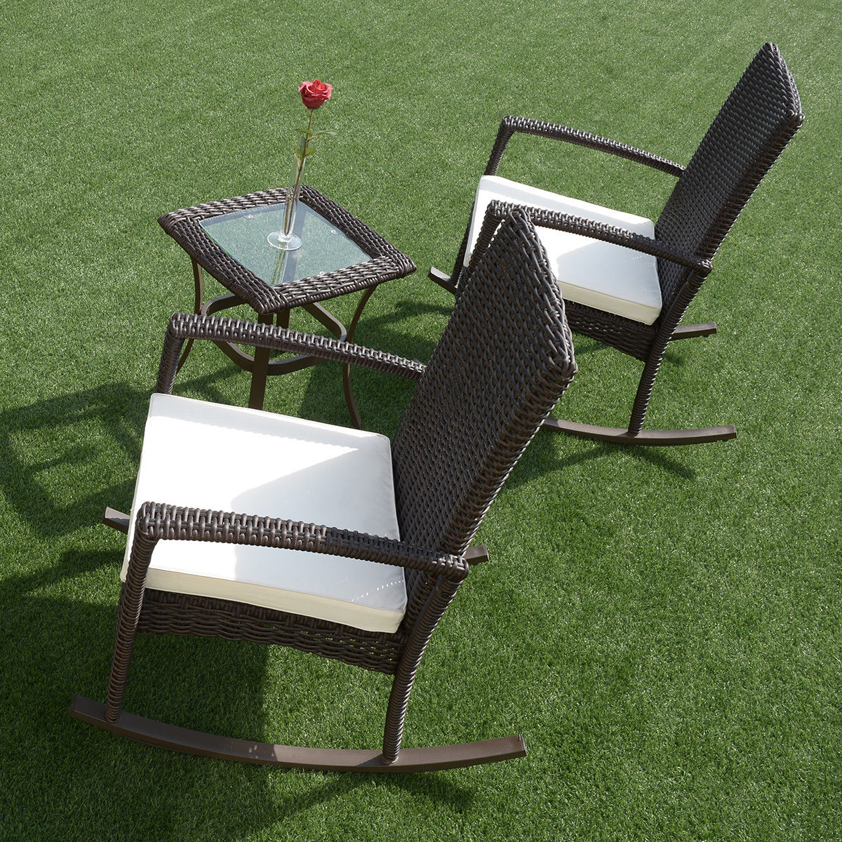 Gymax 3PC Patio Rattan Wicker Furniture Set Cushioned Outdoor Garden - image 3 of 8