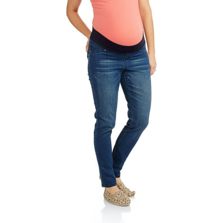 b227217dca8c6 Planet Motherhood - Maternity Demi Panel Basic Skinny Jeans - Walmart.com