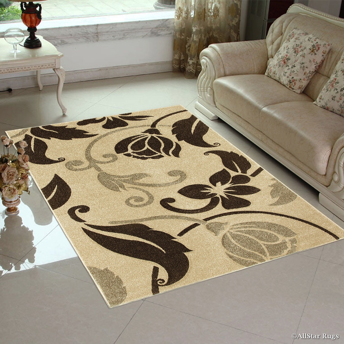 Click here to buy Brown   Beige Allstar Floral Design Modern Geometric Area Rug (7