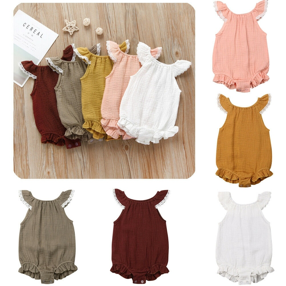 Suefunskry Infant Baby Girls Ruffle Sleeveless Backless Romper Bodysuit Bowknot Headband Outfits