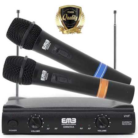 Professional Dual Wireless EMB VHF Handheld Mic w/ Long Distance Range - (Best Long Range Wireless Microphone)