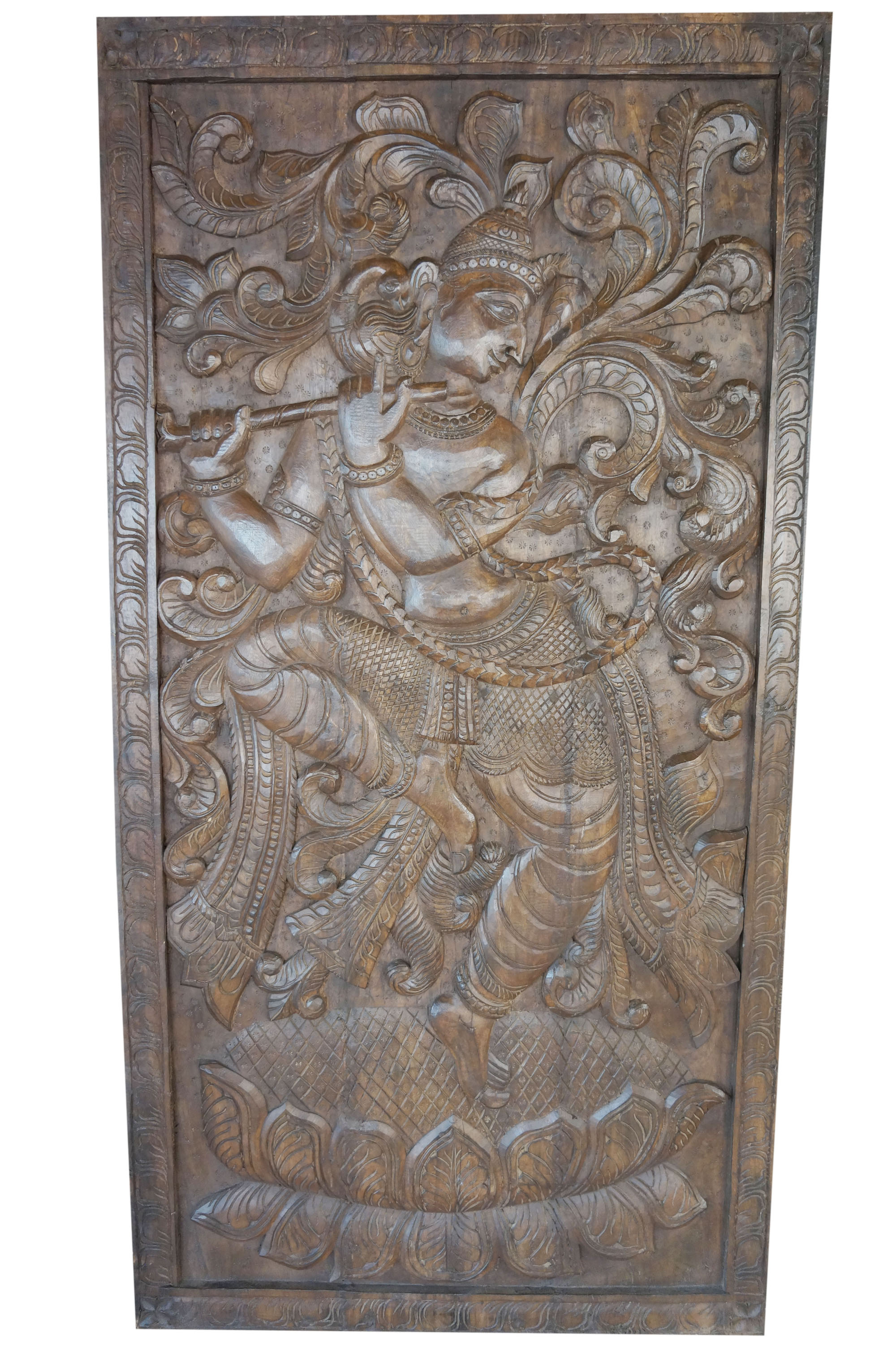 Mogul Dancing Krishna Handcarved Vintage Fluting Krishna Wall Sculpture Panel Barn Door Yoga Decor