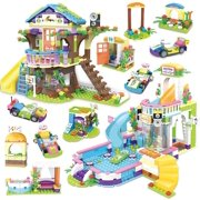 Exercise N Play Friends Tree House & Heartlake Summer Pool Party Building Blocks Kit,  Construction Toy Kids Learning Roleplay Bricks Set, Christmas Birthday Gift for Boys Girls Ages 6-12 (1274 Pcs)