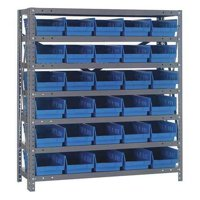 QUANTUM STORAGE SYSTEMS 1839-104BL Bin Shelving, Solid, 36X18, 30 Bins, Blue