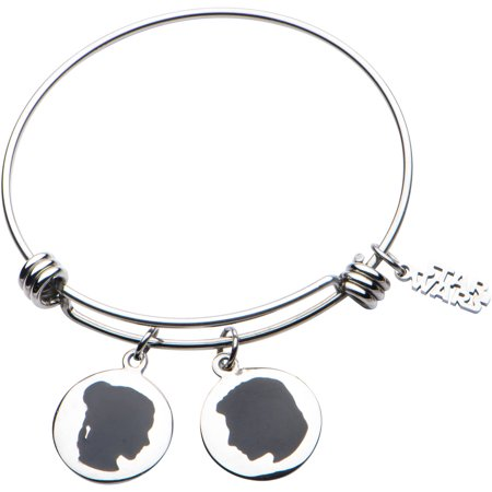 Han Solo and Princess Leia Women's Stainless Steel I love you. I know Expandable Charm Bracelet](Leia And Han)