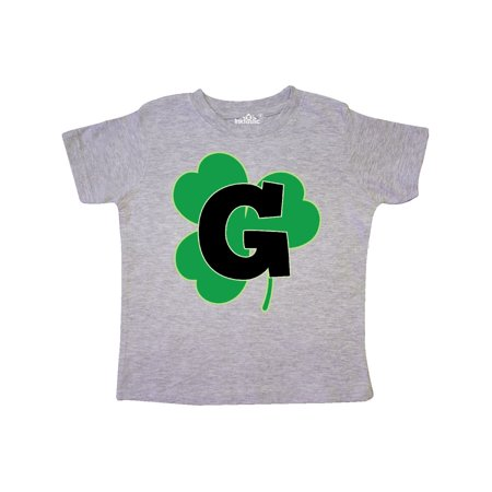 Irish Shamrock Letter G Monogram Toddler T-Shirt Monogrammed Childrens Clothing
