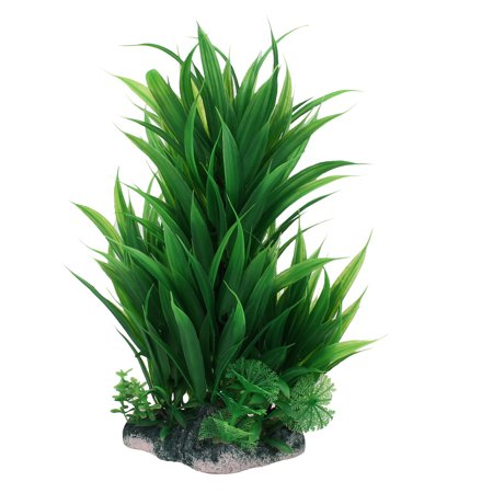 Aquarium Fish Tank Landscaping Green Oval Manmade Aquatic Water Plant 24cm High