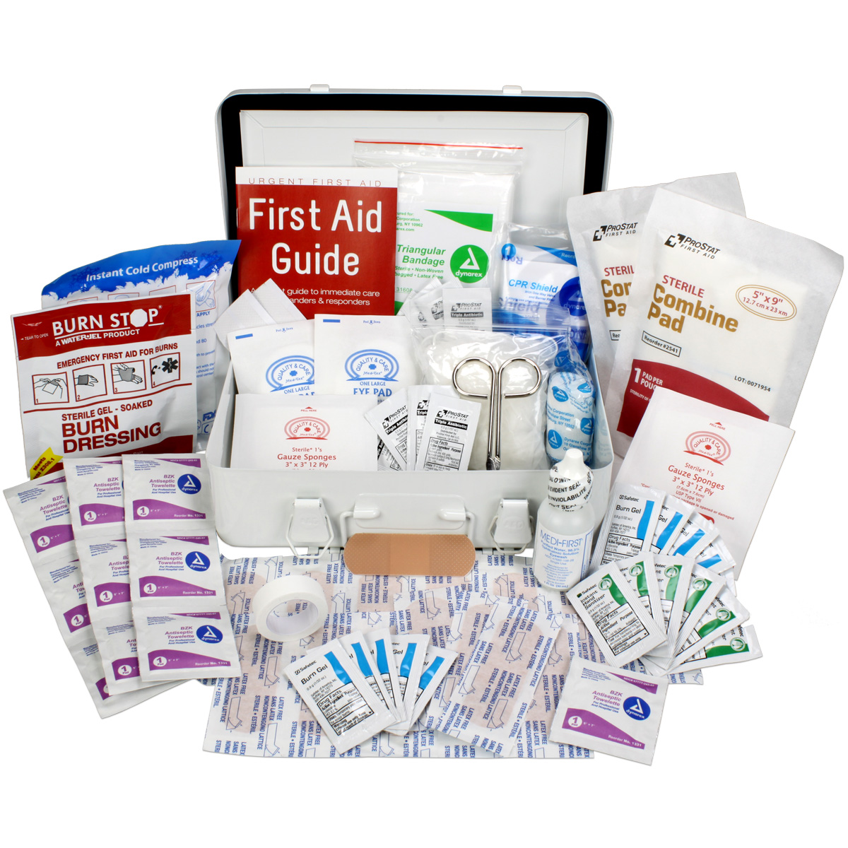 OSHA & ANSI First Aid Kit, 25 Person, 74 Pieces, Indoor/Outdoor Emergency Kit for Office, Home or Car, ANSI 2015 Class A, Metal, Made in USA