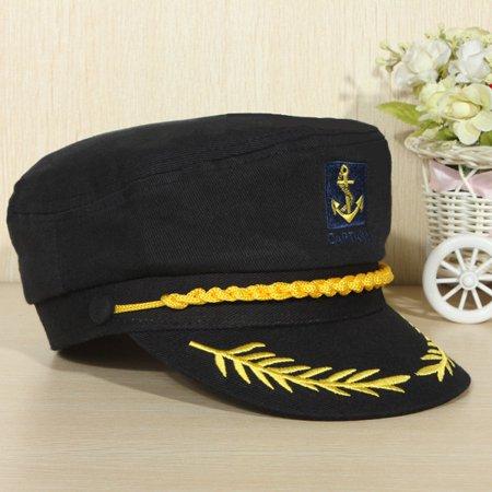 eb86acf39d27c Unisex Skipper Hat Cap Yacht Peaked Sailor Navy Captain Boat Ship Men Lady  - Walmart.com