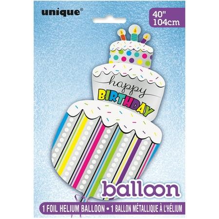 40 Giant Foil Happy Birthday Cake Balloon