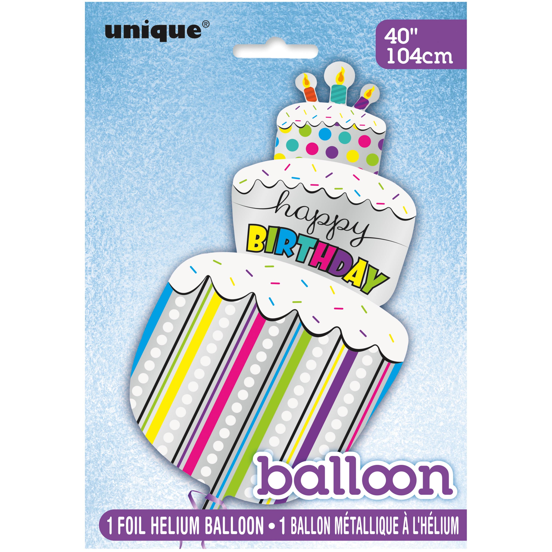 """40"""" Giant Foil Happy Birthday Cake Balloon"""