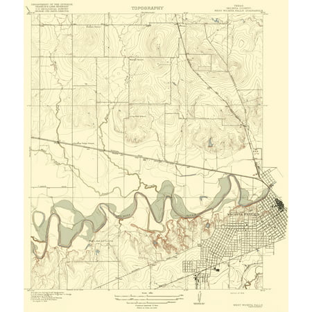Topographical Map - Wichita Falls, West Texas Quad - USGS 1918 - 23 ...