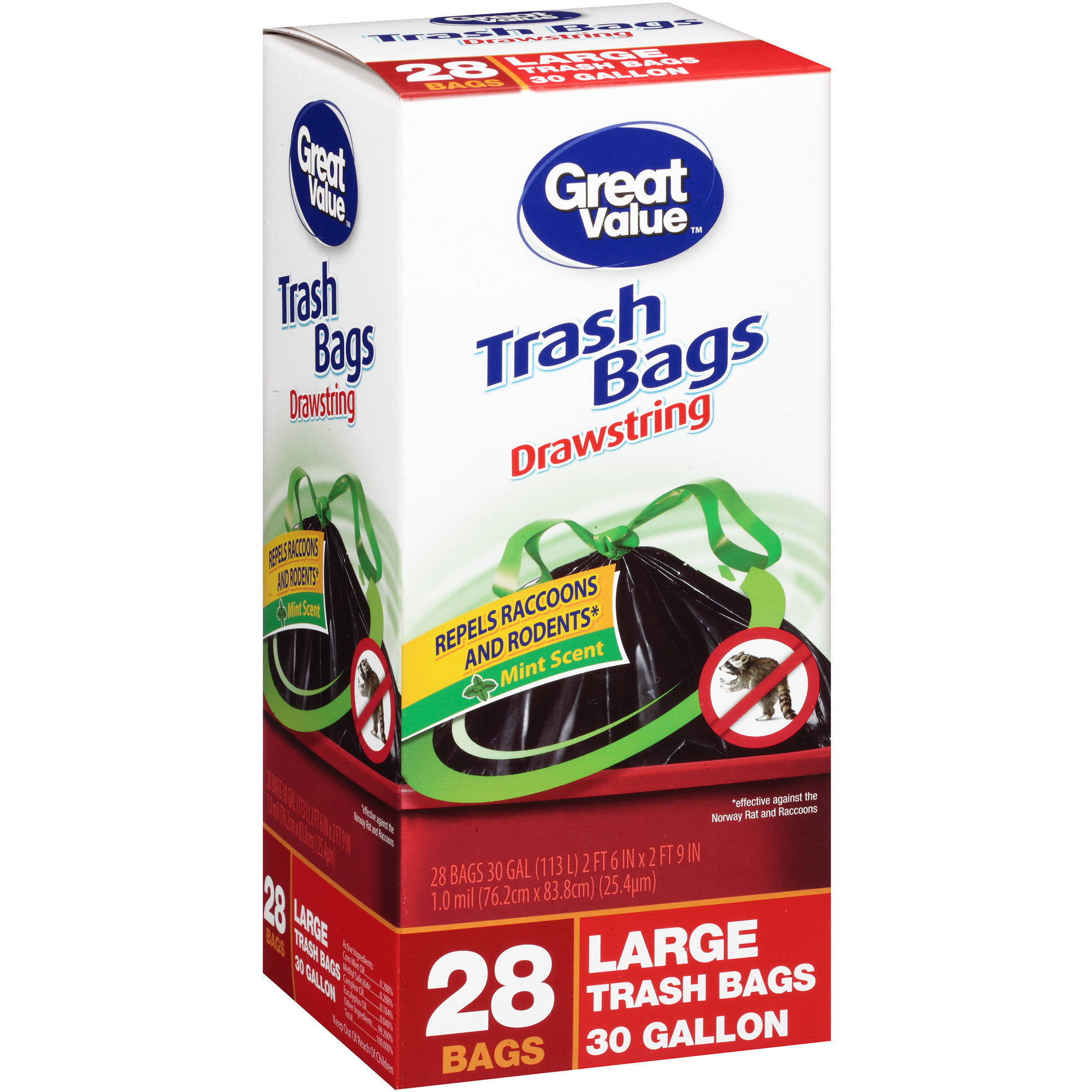 Great Value 30 Gallon Large Drawstring Trash Bags, 28 count