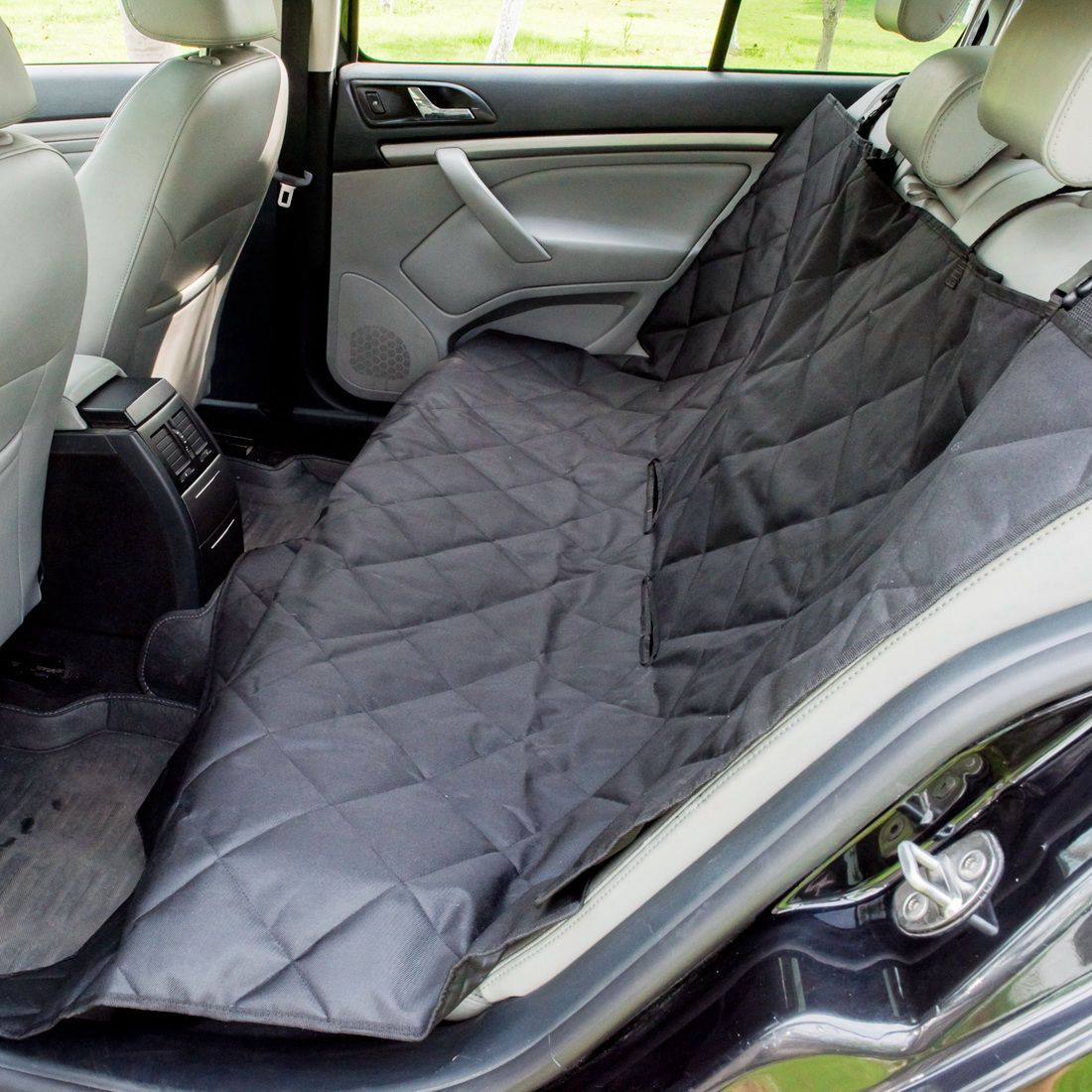 Waterproof Pet Vehicle Seat Cover Hammock Quilted Dog Stain-proof Car Black