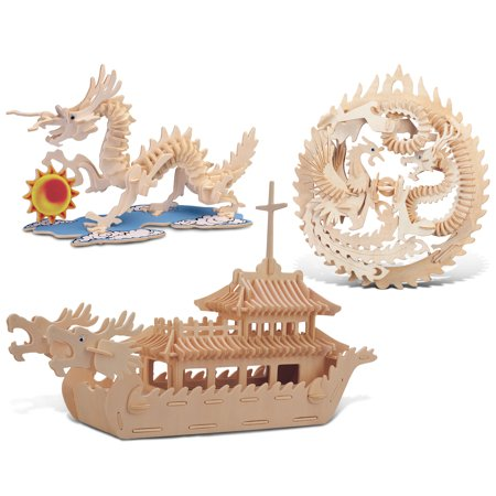 (Puzzled Dragon, Lucky Dragon & Phoenix and Dragon Boat Wooden 3D Puzzle Const)