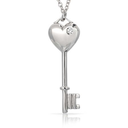 925 Sterling Silver CZ Sweet Heart Key Necklace (Cubic Zirconia Key Necklace)