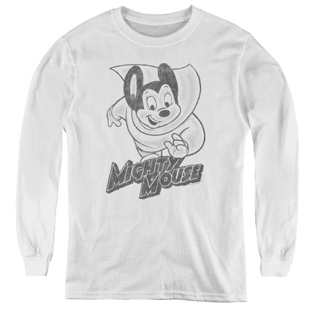 Mighty Mouse - Mighty Sketch - Youth Long Sleeve Shirt - Small