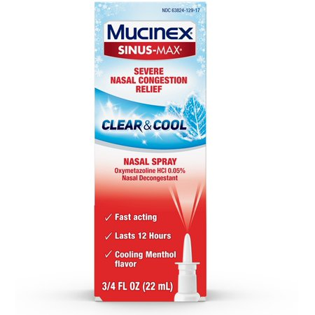 4 Pack - Mucinex Sinus-Max Nasal Spray Clear & Cool, 0.75 oz Packaging May