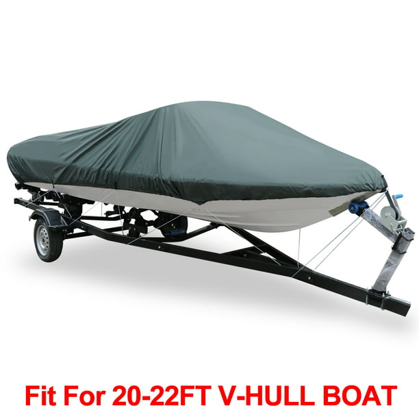 V-Hull 210-Denier Waterproof Boat Cover for 20'-22' Trailerable Fishing Ski Boats Runabout Covers