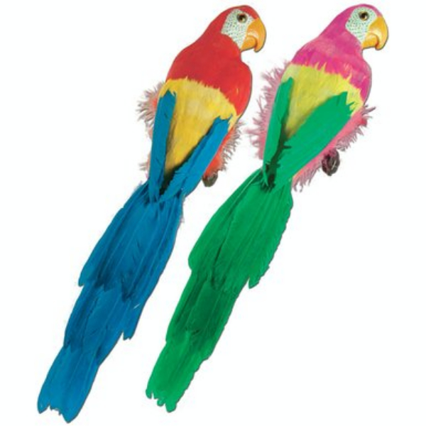 Pack of 6 Large Vibrant Brightly Colored Feathered Parrot Luau Party Decorations 20""