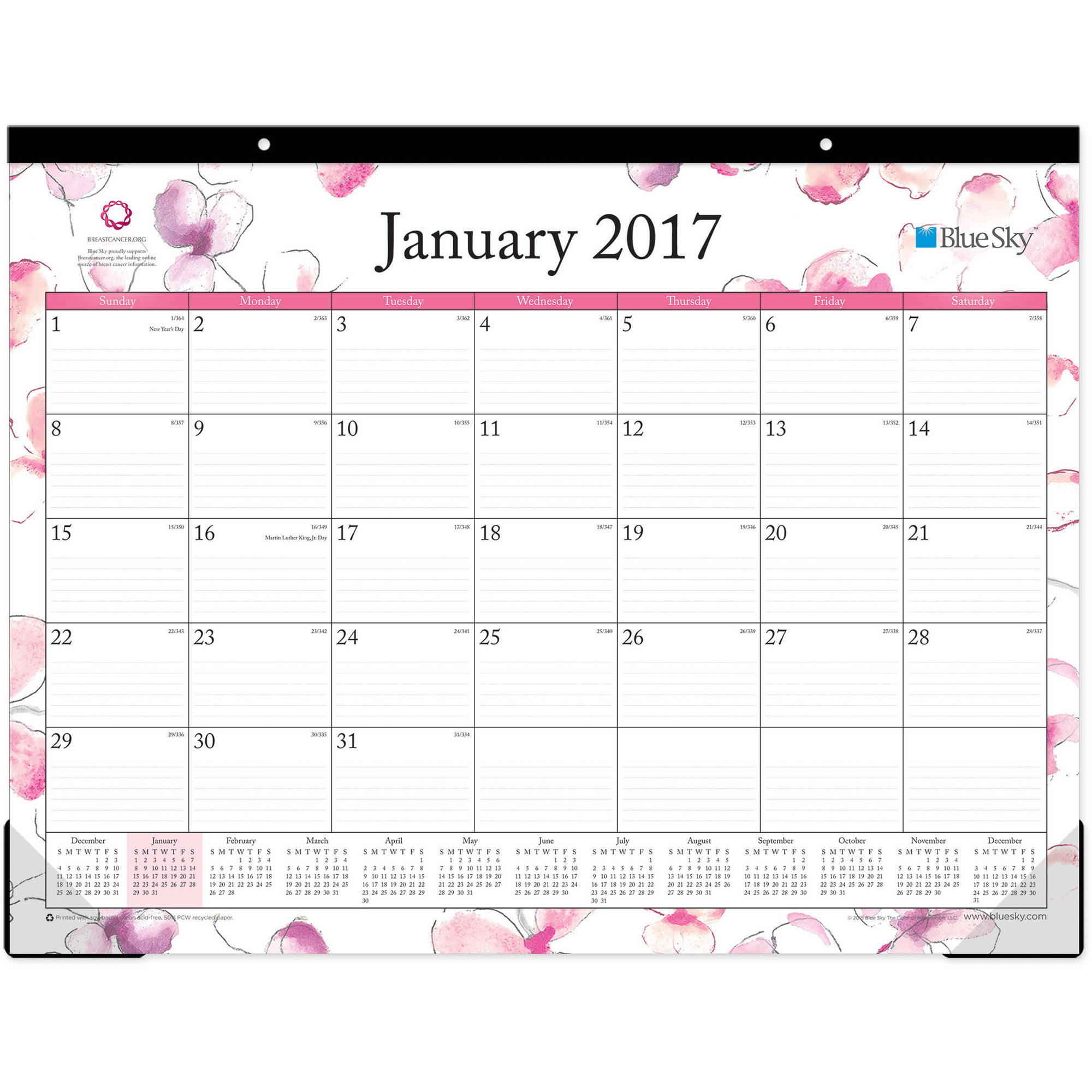 "Blue Sky Breast Cancer Awarenss ""Orchid"" 22"" x 17"" Monthly Desk Pad Calendar, 2017"