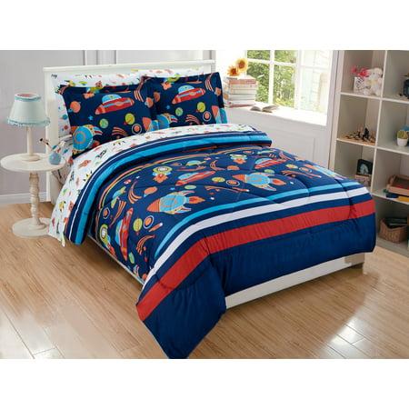 Fancy Linen 5pc Twin Size Solar System Comforter Set Navy Blue Red Orange New