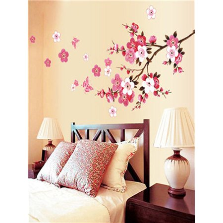 - Room Peach Blossom Flower Butterfly Wall Stickers Vinyl Art Decals Decor Mural