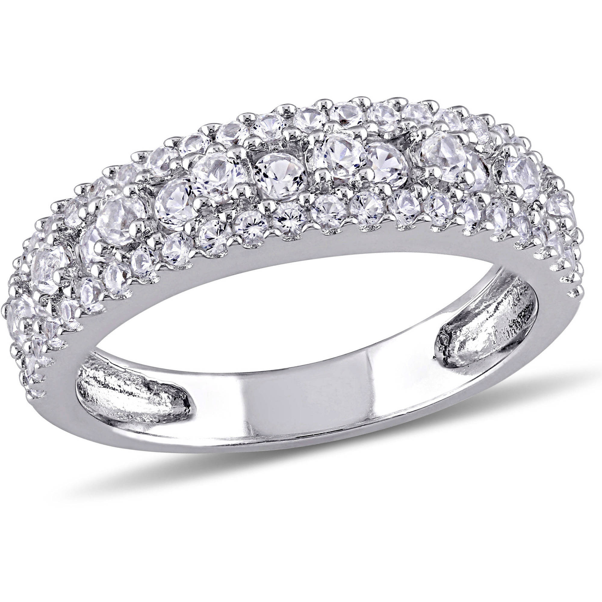 Miabella 1-1/7 Carat T.G.W. Created White Sapphire Sterling Silver Anniversary Ring