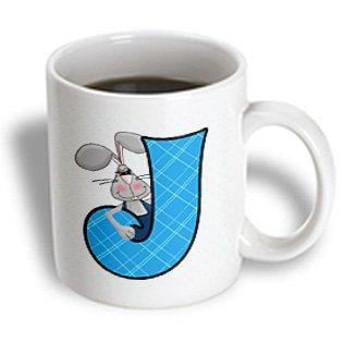 Boy Ceramic - 3dRose J is for Jack Rabbit in Blue for Boys Baby and Kids Monogram J in Argyle Prints, Ceramic Mug, 11-ounce