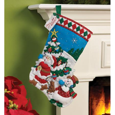 Bucilla   Felt Applique Stocking Kit by Plaid, Pick A Tree, 16""