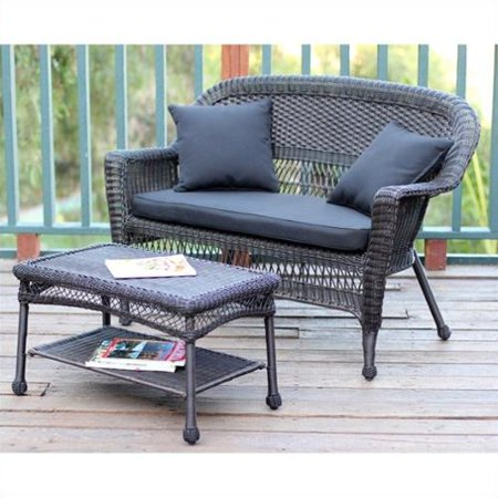 Jeco Wicker Patio Love Seat and Coffee Table Set in Espresso with Black Cushion
