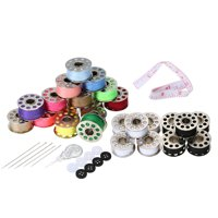 15pcs Mixed Colors Bobbins + 5pcs White Bobbins + 5pcs Black Bobbins Thread Bobbins Sewing Accessories Supplies Kit with Storage Case for Brother Janome Kenmore Singer