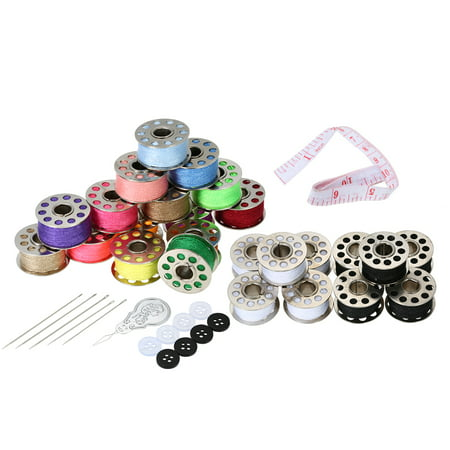 15pcs Mixed Colors Bobbins + 5pcs White Bobbins + 5pcs Black Bobbins Thread Bobbins Sewing Accessories Supplies Kit with Storage Case for Brother Janome Kenmore