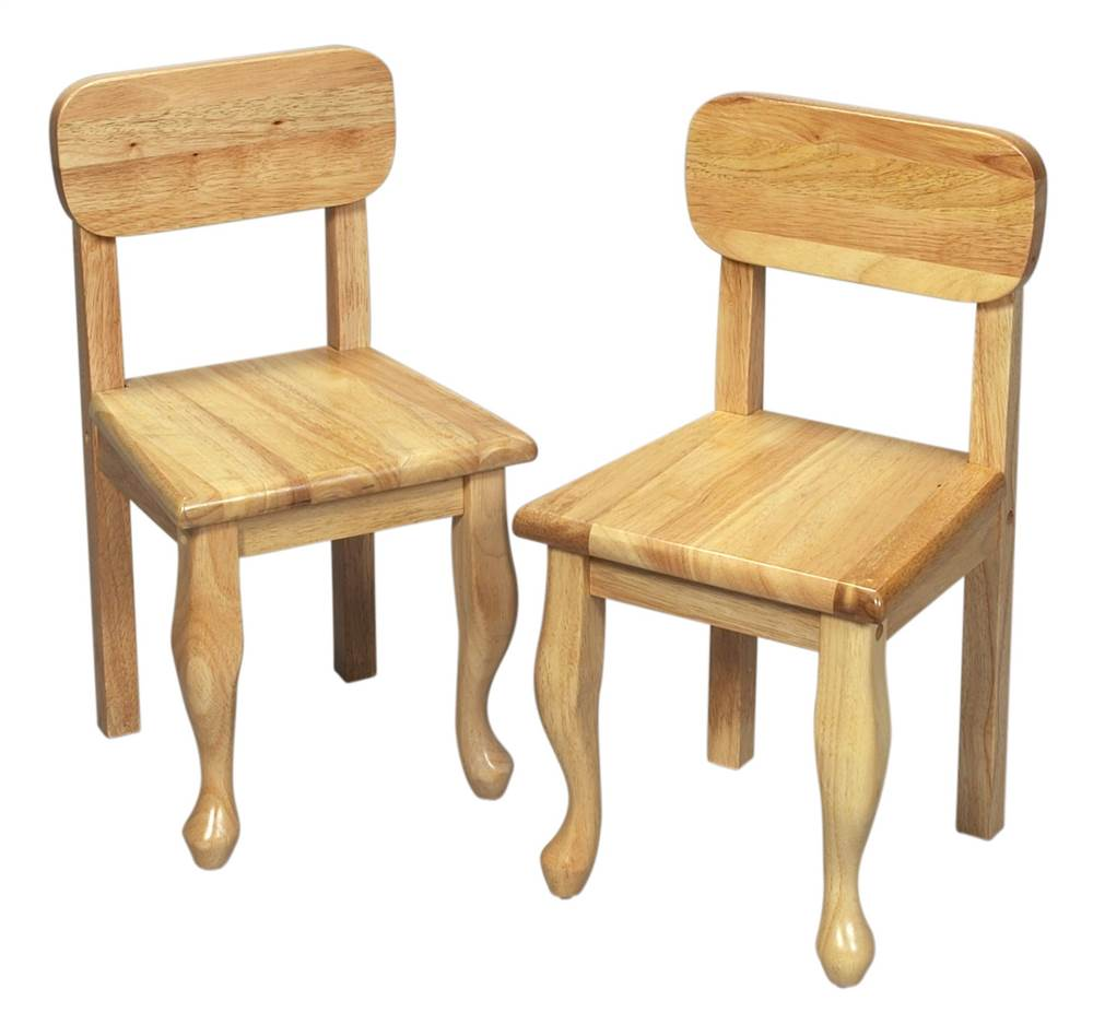 Kids Queen Anne Chair Set w Natural Finish - Set of 2